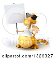 Clipart Of A 3d Casual Yellow Dragon Wearing A T Shirt And Sunglasses Holding Up A Blank Sign Royalty Free Illustration