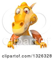 Clipart Of A 3d Casual Yellow Dragon Wearing A T Shirt And Pointing Down Over A Sign Royalty Free Illustration