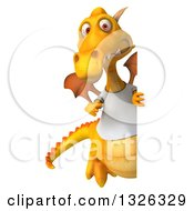 Clipart Of A 3d Casual Yellow Dragon Wearing A T Shirt And Pointing Around A Sign Royalty Free Illustration
