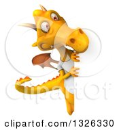 Clipart Of A 3d Casual Yellow Dragon Wearing A T Shirt And Looking Around A Sign Royalty Free Illustration