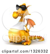 Clipart Of A 3d Casual Yellow Dragon Wearing A T Shirt And Sunglasses Facing Left Royalty Free Illustration