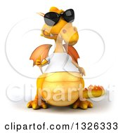 Clipart Of A 3d Casual Yellow Dragon Wearing A T Shirt And Sunglasses Giving A Thumb Up Royalty Free Illustration