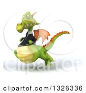 Clipart Of A 3d Green Business Dragon Sprinting To The Left Royalty Free Illustration