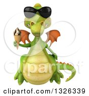 Clipart Of A 3d Green Dragon Wearing Sunglasses And Holding A Waffle Ice Cream Cone Royalty Free Illustration