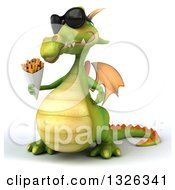 Clipart Of A 3d Green Dragon Wearing Sunglasses Shrugging And Holding French Fries Royalty Free Illustration