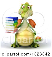 Clipart Of A 3d Green Dragon Holding A Stack Of Books Royalty Free Illustration
