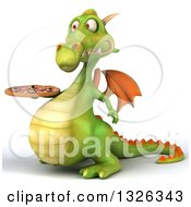 Clipart Of A 3d Green Dragon Facing Left And Holding A Pizza Royalty Free Illustration