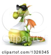Clipart Of A 3d Casual Green Dragon Wearing Sunglasses And A White T Shirt Facing Left Royalty Free Illustration