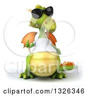 Clipart Of A 3d Casual Green Dragon Wearing Sunglasses And A White T Shirt Giving A Thumb Up Royalty Free Illustration