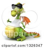 Clipart Of A 3d Casual Green Dragon Wearing Sunglasses And A White T Shirt Facing Left And Giving A Thumb Up Royalty Free Illustration