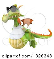 Clipart Of A 3d Casual Green Dragon Wearing Sunglasses And A White T Shirt Flying To The Left Royalty Free Illustration