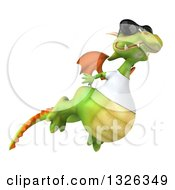 Clipart Of A 3d Casual Green Dragon Wearing Sunglasses And A White T Shirt Flying To The Right Royalty Free Illustration