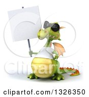 Clipart Of A 3d Casual Green Dragon Wearing Sunglasses And A White T Shirt Shrugging And Holding A Blank Sign Royalty Free Illustration