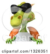 Clipart Of A 3d Casual Green Dragon Wearing Sunglasses And A White T Shirt Over A Sign Royalty Free Illustration