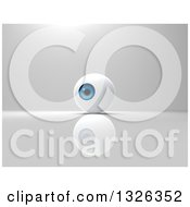 Clipart Of A 3d Blue Eyeball On Gray Royalty Free Illustration