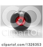 Clipart Of A 3d Black And Red Eyeball On Shading Royalty Free Illustration