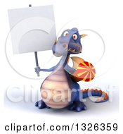 Clipart Of A 3d Purple Dragon Holding A Rocket Firework And Blank Sign Royalty Free Illustration by Julos