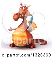Clipart Of A 3d Red Dragon Nurse Presenting To The Left And Holding A Vaccine Syringe Royalty Free Illustration