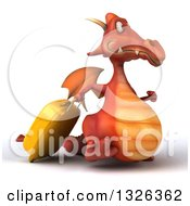 Clipart Of A 3d Red Dragon Traveler Walking To The Right With A Rolling Suitcase Royalty Free Illustration by Julos
