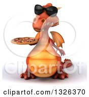 Clipart Of A 3d Red Dragon Wearing Sunglasses And Holding A Pizza Royalty Free Illustration