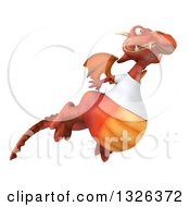 Clipart Of A 3d Casual Red Dragon Wearing A T Shirt And Flying Up To The Right Royalty Free Illustration