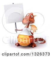 Clipart Of A 3d Casual Red Dragon Wearing A T Shirt Holding A Blank Sign Royalty Free Illustration
