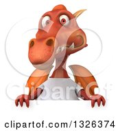 Clipart Of A 3d Casual Red Dragon Wearing A T Shirt Over A Sign Royalty Free Illustration