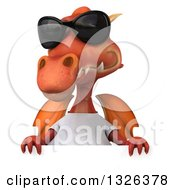 Clipart Of A 3d Casual Red Dragon Wearing A T Shirt And Sunglasses Over A Sign Royalty Free Illustration