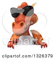 Clipart Of A 3d Casual Red Dragon Wearing A T Shirt And Sunglasses Pointing Down Over A Sign Royalty Free Illustration