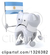 Clipart Of A 3d Unhappy Tooth Character Holding An Argentine Flag And Walking To The Left Royalty Free Illustration