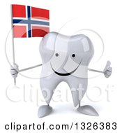 Clipart Of A 3d Happy Tooth Character Holding A Norwegian Flag And Giving A Thumb Up Royalty Free Illustration