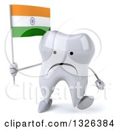Clipart Of A 3d Unhappy Tooth Character Holding An Indian Flag And Walking Royalty Free Illustration