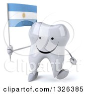 Clipart Of A 3d Happy Tooth Character Holding An Argentine Flag And Walking Royalty Free Illustration