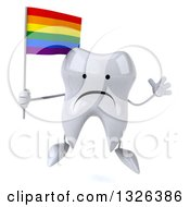 Clipart Of A 3d Unhappy Tooth Character Holding A Rainbow Flag And Jumping Royalty Free Illustration