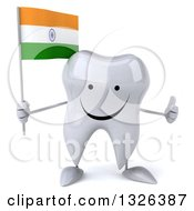 Clipart Of A 3d Happy Tooth Character Holding An Indian Flag And Giving A Thumb Up Royalty Free Illustration