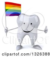 Clipart Of A 3d Happy Tooth Character Holding A Rainbow Flag And Giving A Thumb Up Royalty Free Illustration