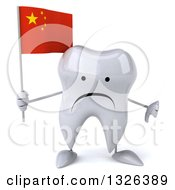 Clipart Of A 3d Unhappy Tooth Character Holding A Chinese Flag And Thumb Down Royalty Free Illustration