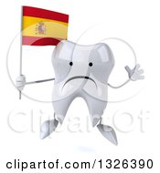 Clipart Of A 3d Unhappy Tooth Character Jumping And Holding A Spanish Flag Royalty Free Illustration