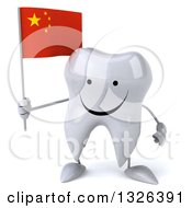 Clipart Of A 3d Happy Tooth Character Holding A Chinese Flag Royalty Free Illustration
