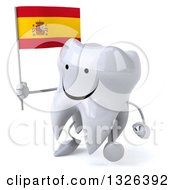 Clipart Of A 3d Happy Tooth Character Holding A Spanish Flag And Walking To The Left Royalty Free Illustration