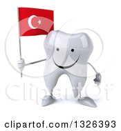 Clipart Of A 3d Happy Tooth Character Holding A Turkish Flag Royalty Free Illustration