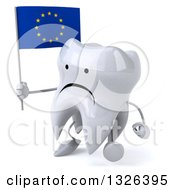 Clipart Of A 3d Unhappy Tooth Character Holding A European Flag And Walking Slightly Left Royalty Free Illustration