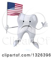 Clipart Of A 3d Unhappy Tooth Character Jumping And Holding An American Flag Royalty Free Illustration