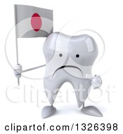 Clipart Of A 3d Unhappy Tooth Character Holding And Pointing To A Japanese Flag Royalty Free Illustration