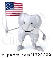 Clipart Of A 3d Happy Tooth Character Holding An American Flag Royalty Free Illustration