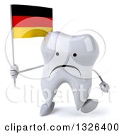 Clipart Of A 3d Unhappy Tooth Character Holding A German Flag And Walking Royalty Free Illustration