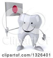 Clipart Of A 3d Happy Tooth Character Holding A Japanese Flag Royalty Free Illustration
