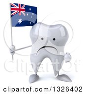 Clipart Of A 3d Unhappy Tooth Character Holding And Pointing To An Australian Flag Royalty Free Illustration