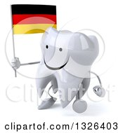Clipart Of A 3d Happy Tooth Character Holding A German Flag And Walking To The Left Royalty Free Illustration