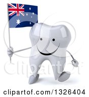 Clipart Of A 3d Happy Tooth Character Holding An Australian Flag And Walking Royalty Free Illustration